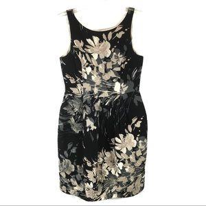 Eliza J Beige Black Floral Dress Pleats Cocktail 8